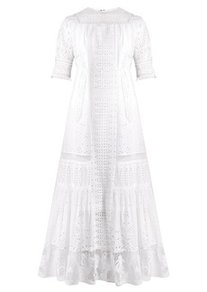 Loewe Lace-insert broderie-anglaise cotton dress