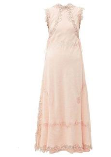 Loewe Lace-insert crinkled dress