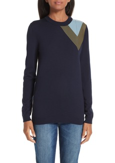 Loewe Leather Chevron Shoulder Wool Sweater