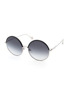 Loewe Leather Rimmed Round Sunglasses