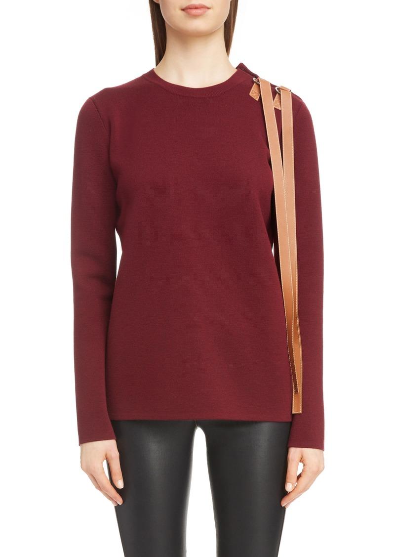 Loewe Leather Strap Detail Wool Sweater