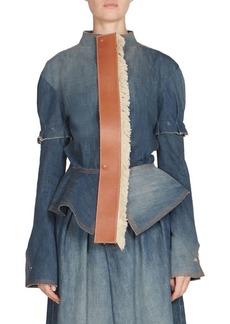 Loewe Leather Tie Denim Peplum Jacket