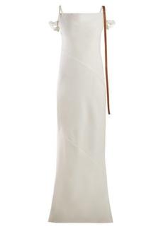 Loewe Leather-trimmed panelled crepe dress