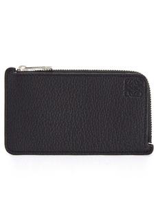 Loewe Logo Embossed Leather Zip Card Case