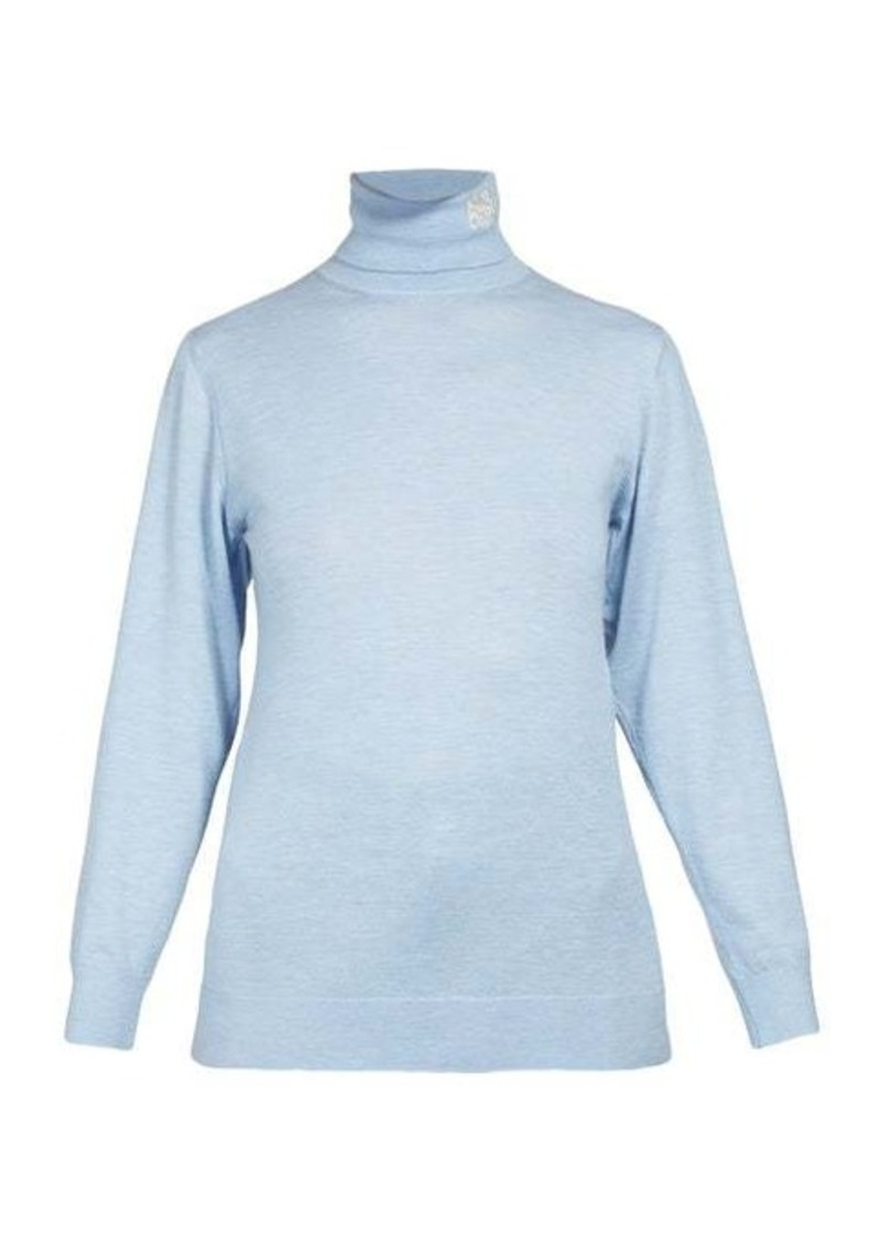 Loewe Logo-embroidered roll-neck cashmere sweater