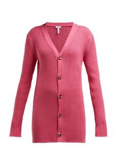 Loewe Long-line ribbed-knit wool cardigan