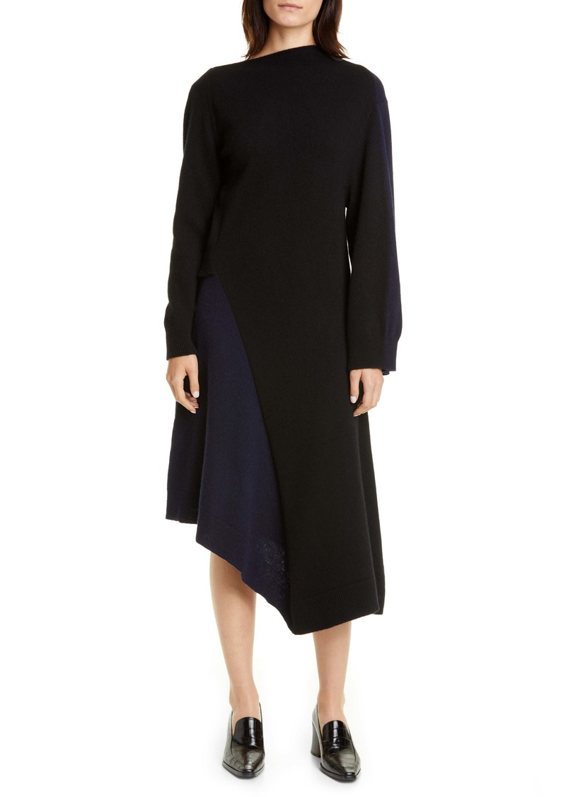 Loewe Long Sleeve Asymmetrical Wool & Cashmere Sweater Dress