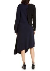Loewe Long Sleeve Asymmetrical Wool & Cashmere Sweater Dress
