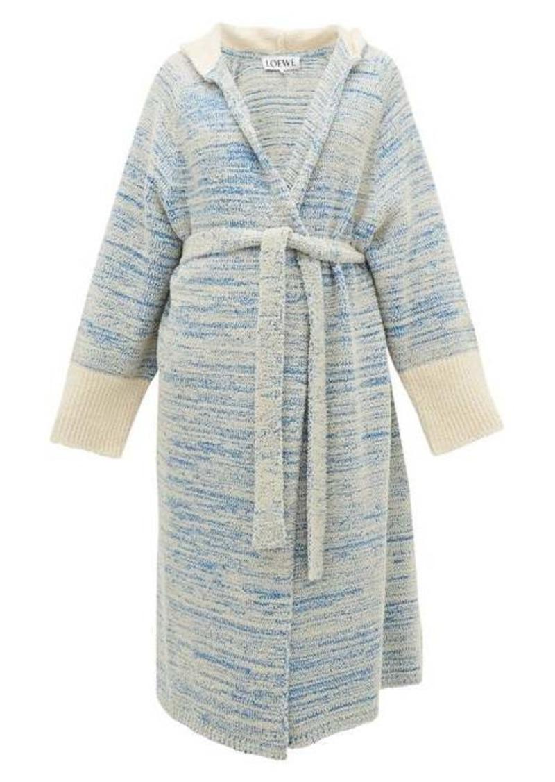 Loewe Longline bouclé-knit cotton-blend hooded cardigan