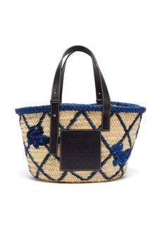 Loewe Medium animal-embroidered raffia basket bag