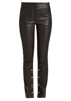 Loewe Mid-rise skinny-leg leather trousers