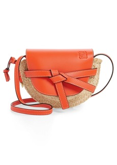 Loewe Gate Mini Leather & Raffia Crossbody Bag