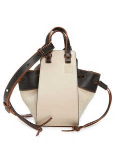 Loewe Mini Hammock Drawstring Linen & Leather Bag