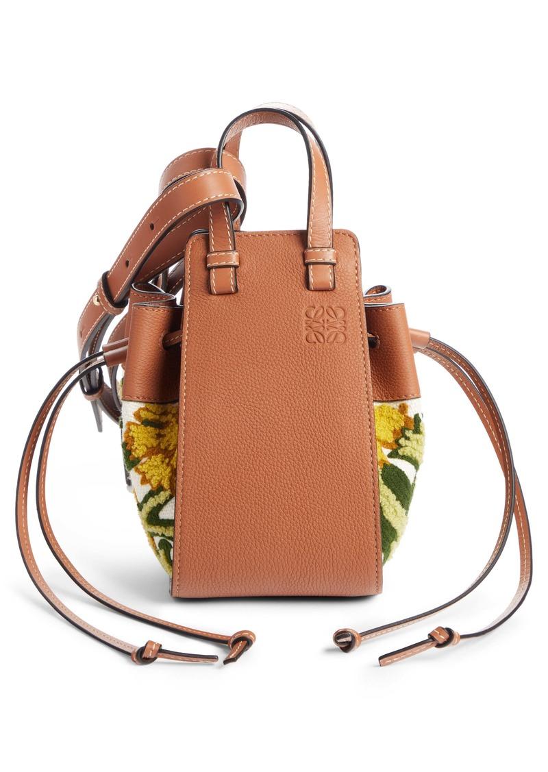 Loewe Mini Hammock Floral Leather Hobo