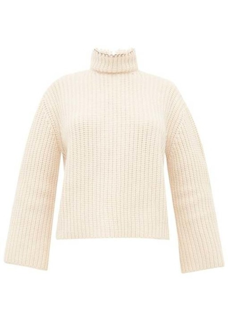 Loewe Open-back faux pearl-neck ribbed cashmere sweater