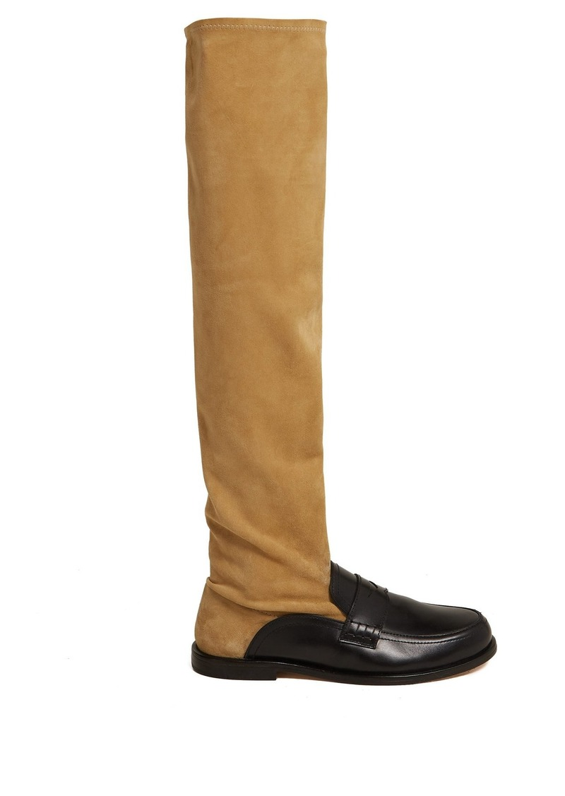 39b2a939af3 Loewe Loewe Over-the-knee leather loafer boots