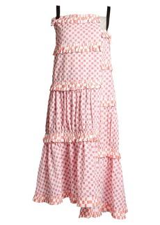 Loewe Patchwork-print tiered cotton dress