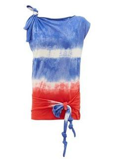 Loewe Paula's Ibiza Tie-dye asymmetric knotted cotton and silk top