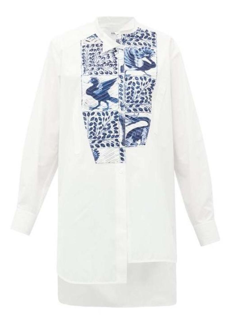 Loewe Peacock-print panel cotton shirt