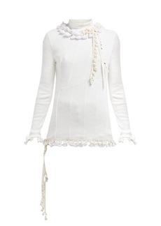 Loewe Pompom-trim panelled cotton-blend jersey top