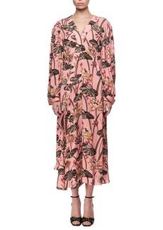 Loewe Printed Long-Sleeve Midi Dress