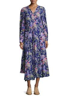 Loewe Printed V-Neck Midi Dress