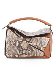 Loewe Puzzle Genuine Python & Leather Shoulder Bag