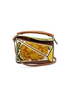 Loewe Puzzle mini floral-embroidered leather bag
