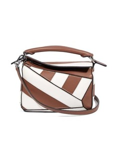 Loewe Puzzle mini striped leather cross-body bag