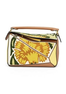 Loewe Puzzle small floral-embroidered leather bag