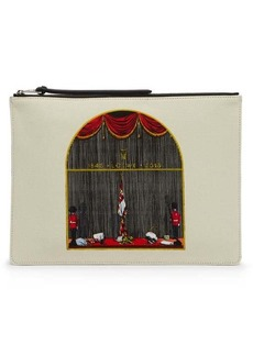 Loewe Queen's Guard-print canvas and leather pouch