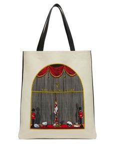 Loewe Queen's Guard-print canvas and leather tote bag