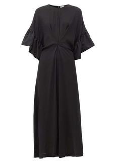 Loewe Ruffled faille-trim crepe dress