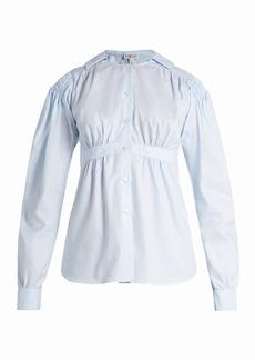 Loewe Sailor-collar smocked oxford-cotton blouse