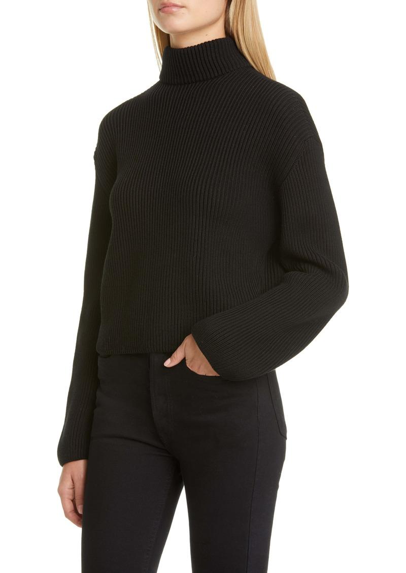 Loewe Scarf Neck Cotton Rib Sweater