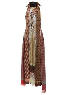 Loewe Scarf-patchwork silk long dress