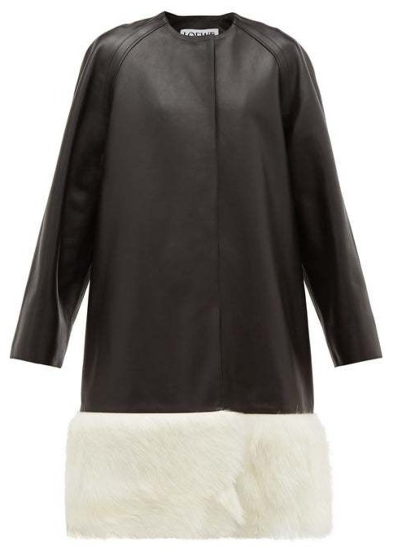 Loewe Shearling-trimmed collarless leather coat