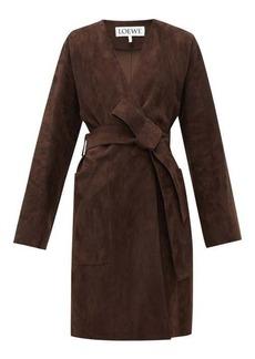 Loewe Single-breasted wrap suede coat