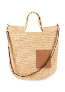 Loewe Slit Raffia and Calf Shoulder Bag