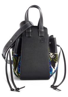 Loewe Small Hammock Floral Leather Hobo Bag