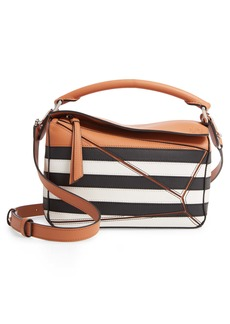 Loewe Small Puzzle Marine Stripe Leather Shoulder Bag