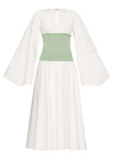 Loewe Smocked-waist wide-sleeve poplin dress