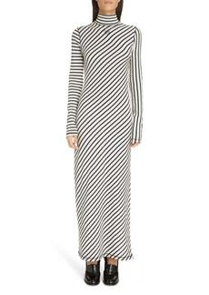 Loewe Stripe Long Sleeve Cotton Jersey Maxi Dress