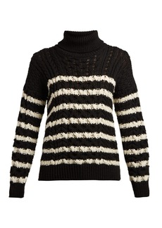 Loewe Striped cable-knit roll-neck wool sweater