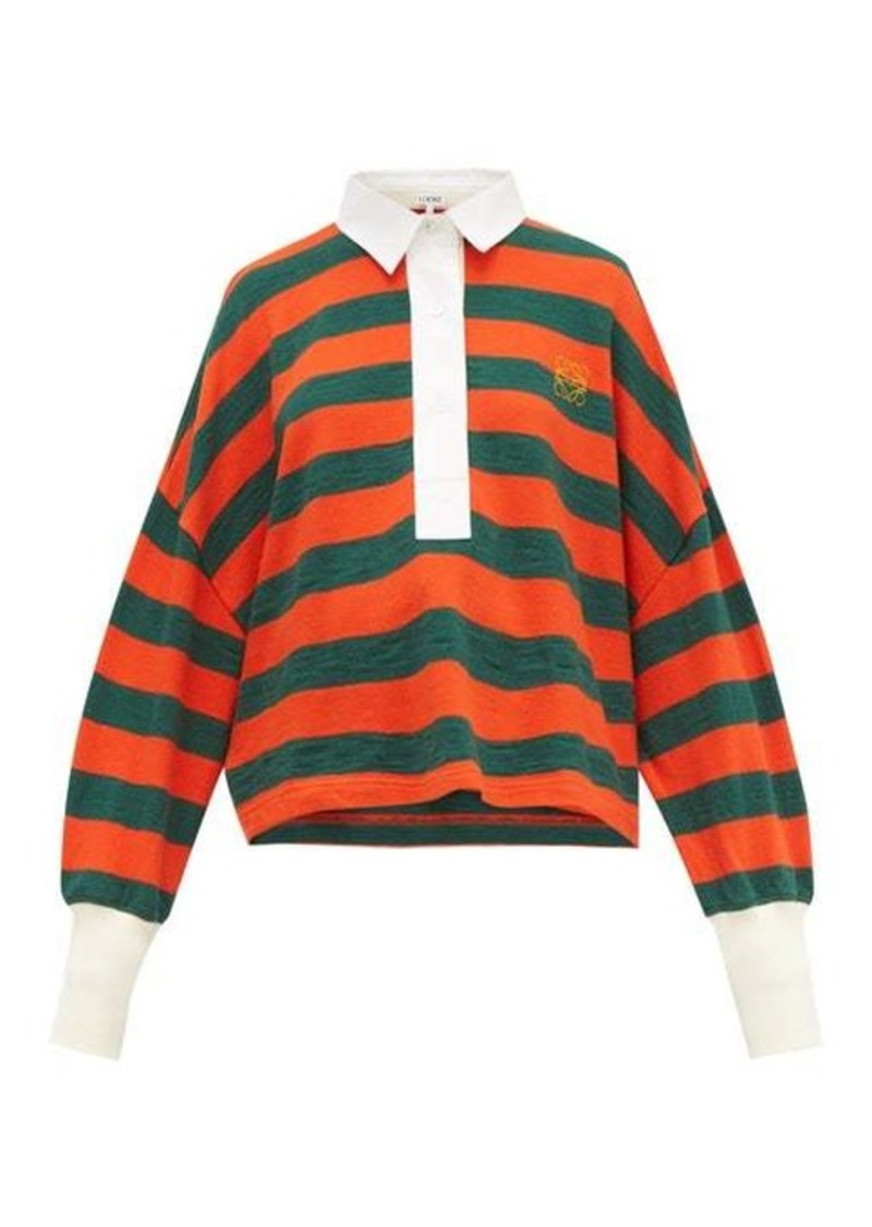 Loewe Striped cotton-knit polo top