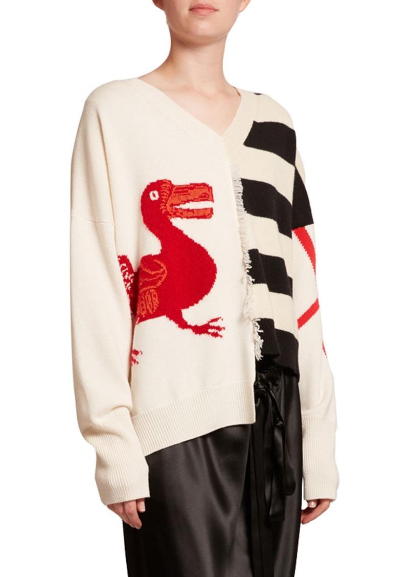 Loewe Striped Wool V-Neck Asymmetric Sweater