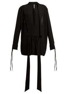 Loewe Tie-neck contrast-panel blouse