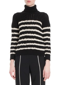 Loewe Turtleneck Striped Cable-Knit Sweater