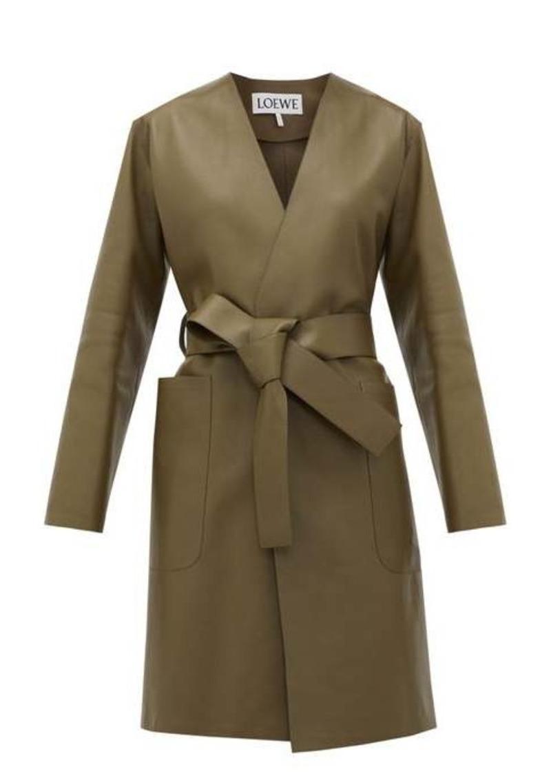 Loewe V-neck belted leather coat