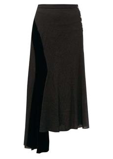 Loewe Velvet-panel asymmetric crinkled skirt